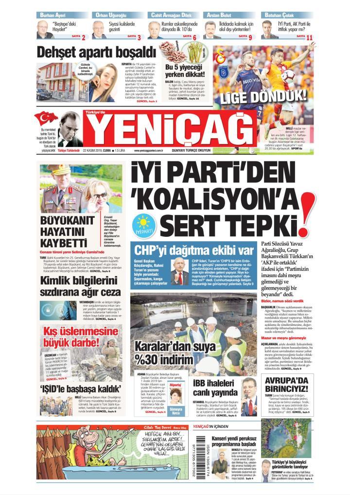 Türkiye'de Yeni Çağ - 22 Kasım 2019