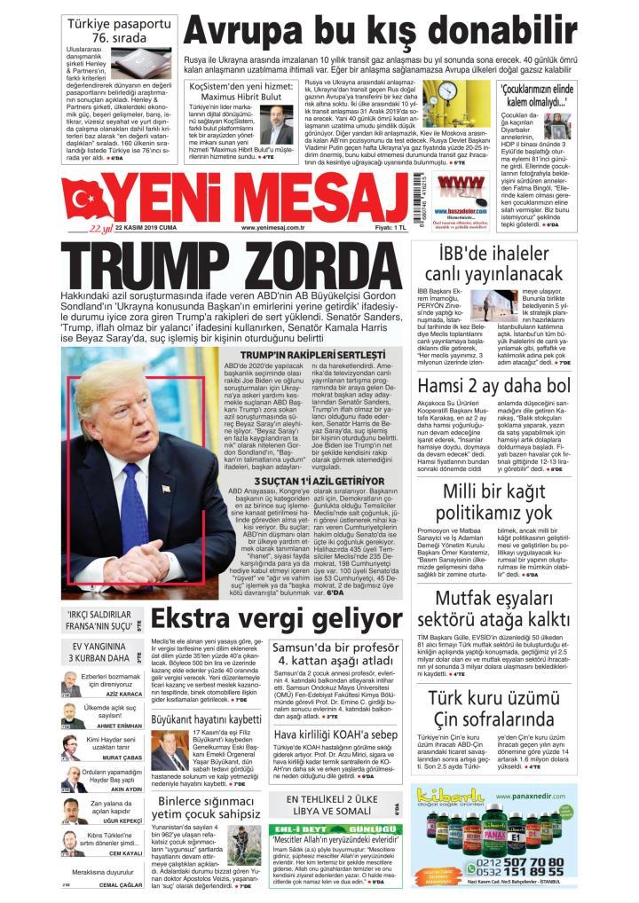 YENİ MESAJ - 22 Kasım 2019