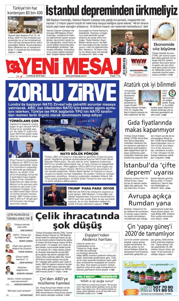 YENİ MESAJ - 03 Aralık 2019