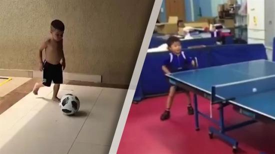 Biri futbolda diğeri masa tenisinde rakip tanımayan iki bebek!
