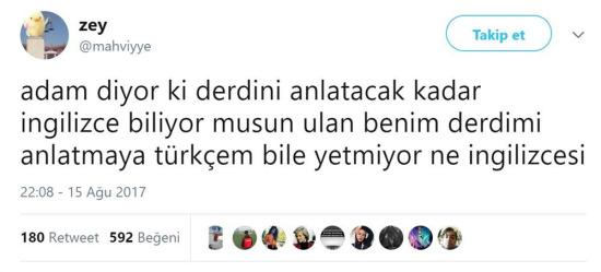 Derdimi anlatamayacak kadar Türkçe biliyorum
