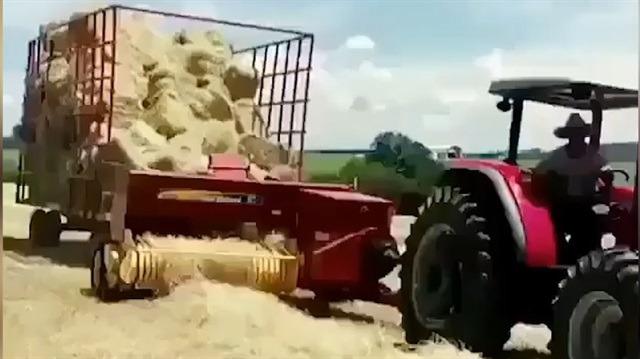Tarlada balya yapımında mükemmel teknik!